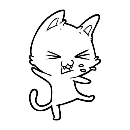 cartoon cat throwing a tantrum Illustration