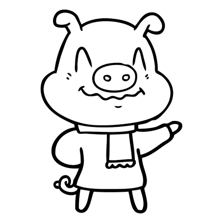 Nervous cartoon pig wearing scarf