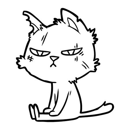 거친 만화 고양이 앉아