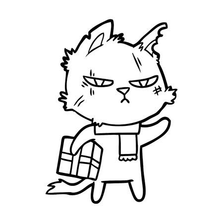 Tough cartoon cat with christmas present Illustration