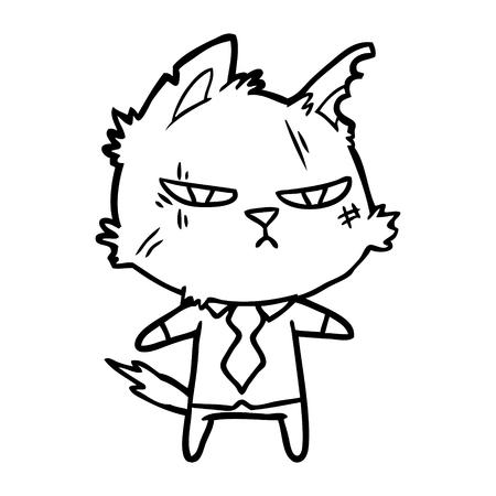 シャツとネクタイでタフな漫画の猫  イラスト・ベクター素材