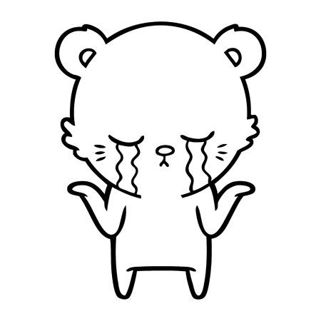 Crying cartoon polar bear shrugging shoulders Illustration