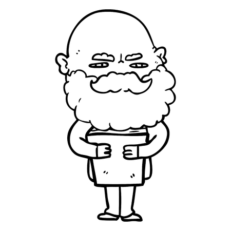 Black and white cartoon man with beard frowning