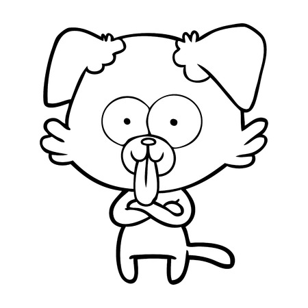 Black and white cartoon dog with tongue sticking out
