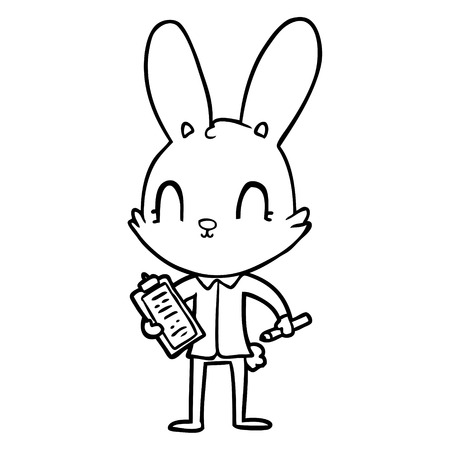 Black and white cute cartoon rabbit with clipboard