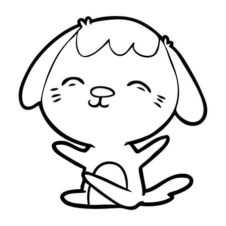 Happy cartoon sitting dog