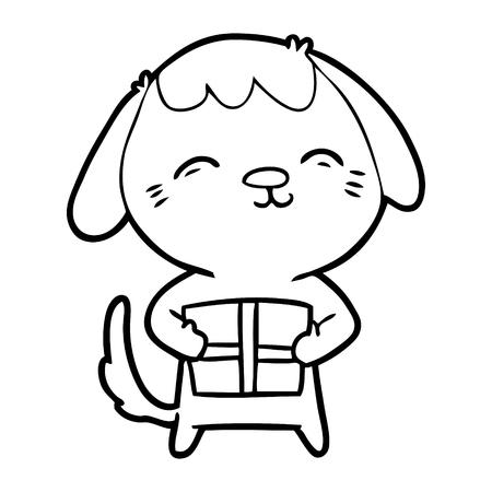 Zwart-wit happy cartoon hond Stockfoto - 94922096