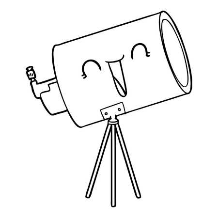 Black and white cartoon telescope with face