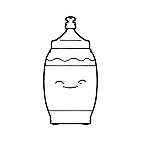 黒と白の漫画ハッピーウォーターボトル  イラスト・ベクター素材