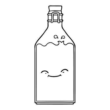 Black and white cartoon old water bottle