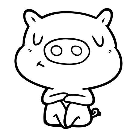 Black and white cartoon content pig meditating Ilustração