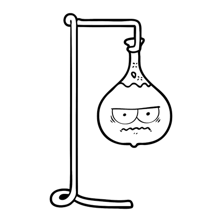 Black and white angry cartoon science experiment