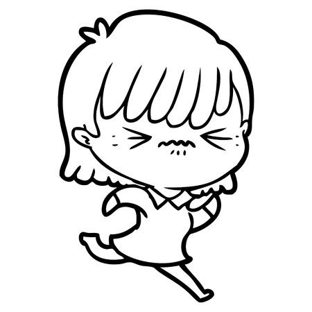 Black and white annoyed cartoon girl Ilustração