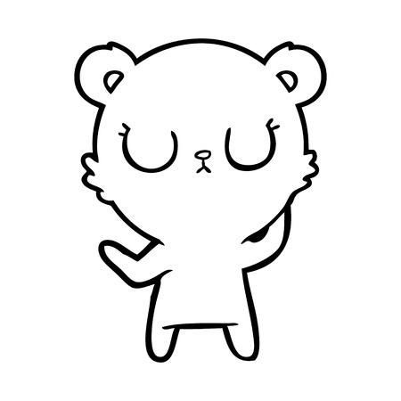 Black and white peaceful cartoon polar bear