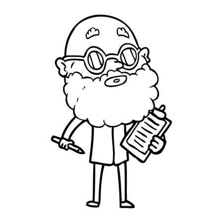 Black and white cartoon curious man with beard and sunglasses