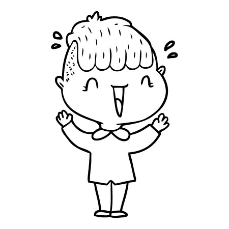 Black and white cartoon happy boy surprised  イラスト・ベクター素材