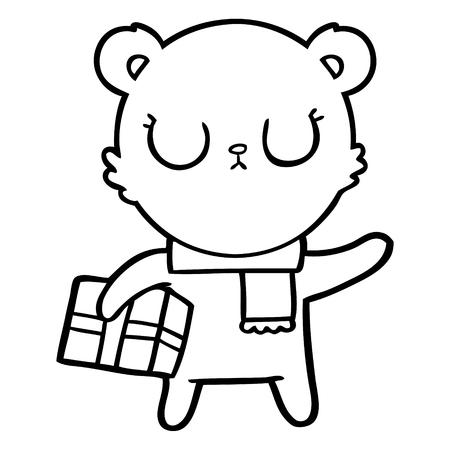 Black and white peaceful cartoon polar bear with christmas gift