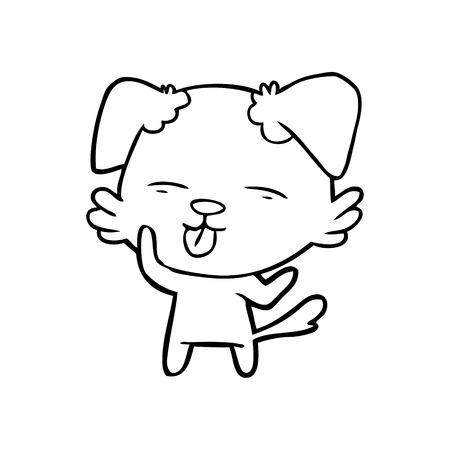 舌を突き出す黒と白の漫画の犬
