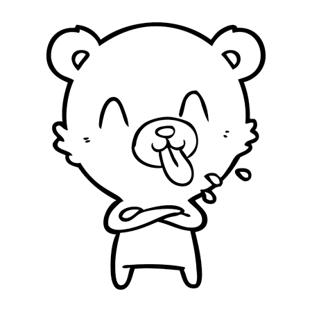 Black and white rude cartoon bear Stok Fotoğraf - 94923014