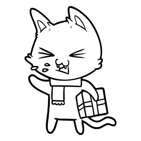 Black and white cartoon hissing cat with Christmas present
