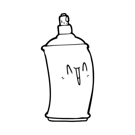 Black and white cartoon happy spray can