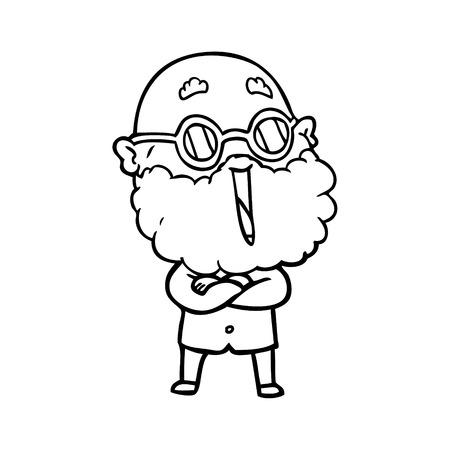 A cartoon joyful man with beard Çizim
