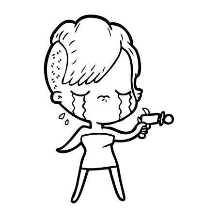 Cartoon crying girl pointing ray gun