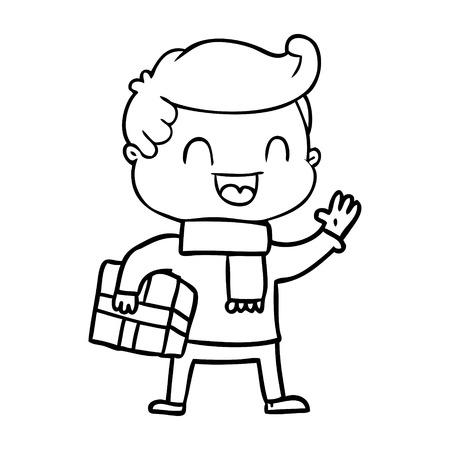 Cartoon lachender Mann , der Geschenk hält Standard-Bild - 94837251