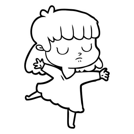 A cartoon indifferent woman on white background. Illusztráció