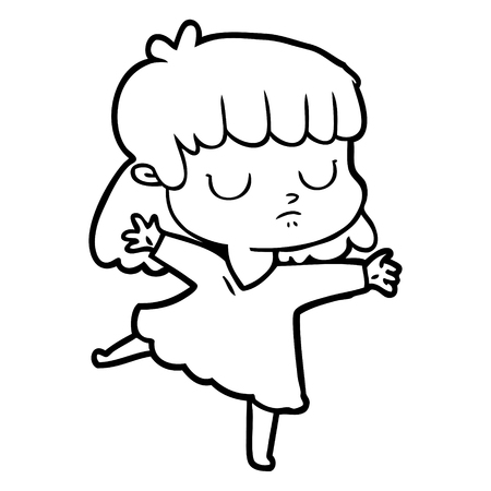 A cartoon indifferent woman on white background. Ilustração
