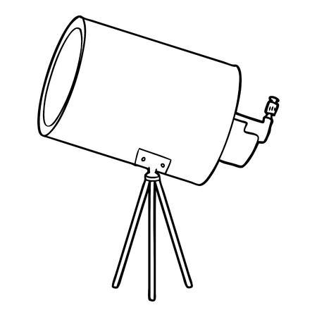 흰색 배경에 만화 큰 망원경입니다.