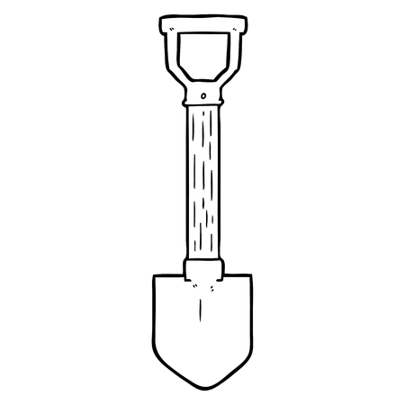 A cartoon shovel on white background.