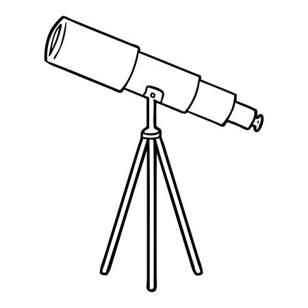 흰색 배경에 만화 망원경입니다. 일러스트