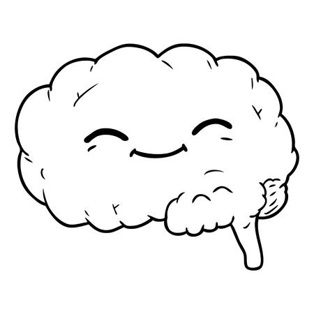 白い背景に漫画の脳。