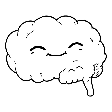 A cartoon brain on white background.