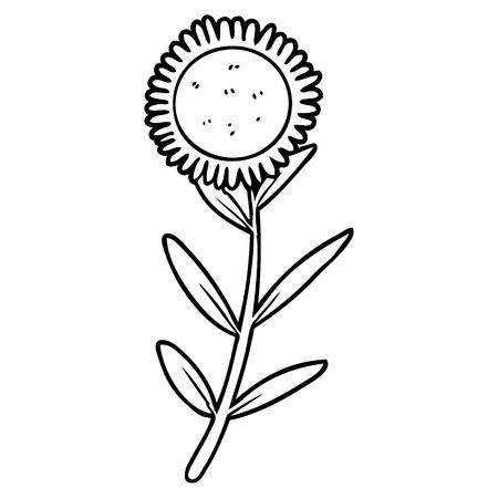 Black and white cartoon sunflower Stok Fotoğraf - 94923202