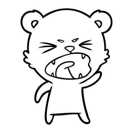 An angry cartoon polar bear on white background.