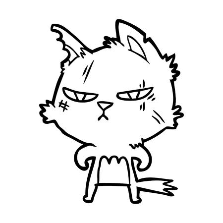白い背景にタフな漫画の猫。