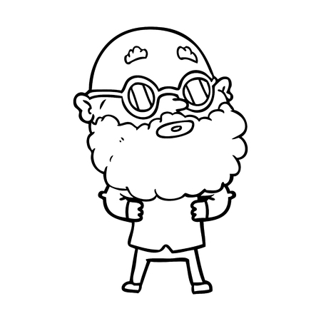 A cartoon curious man with beard and glasses on white background.