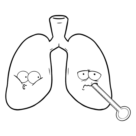 A cartoon unhealthy lungs on white background.