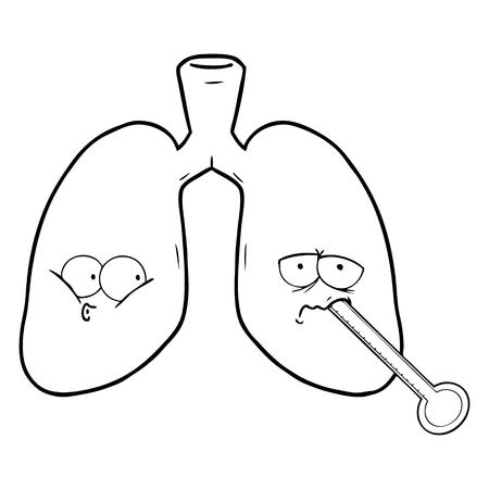 Een cartoon ongezonde longen op witte achtergrond. Stock Illustratie