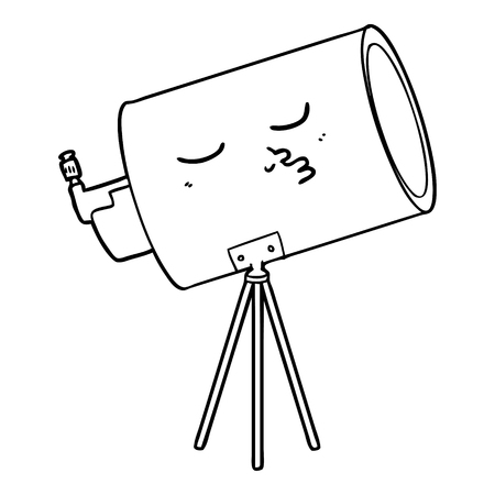 A cartoon telescope with face on white background.