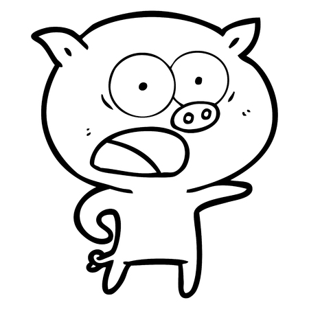 A cartoon pig shouting on white background.