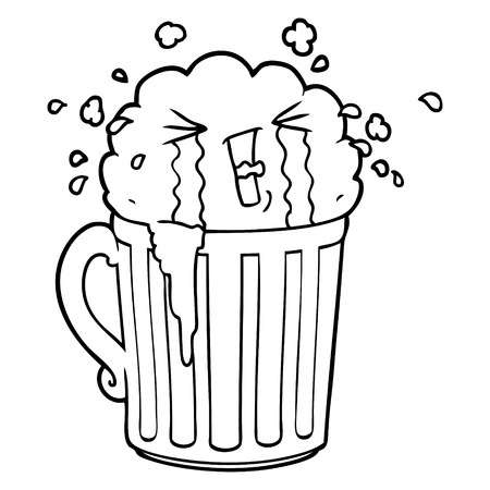 A cartoon of mug of beer crying on white background.