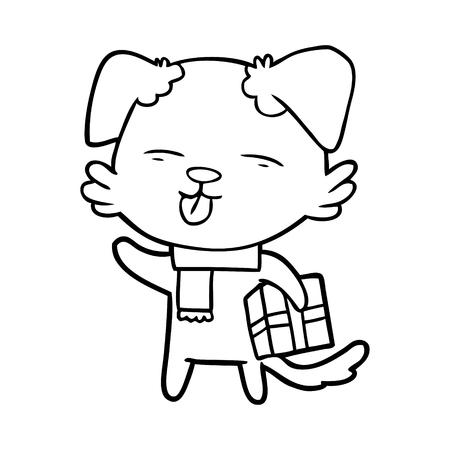 白い背景にXmasギフトを持つ犬の漫画。