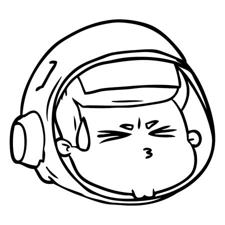 Een cartoon benadrukt astronautengezicht op witte achtergrond.