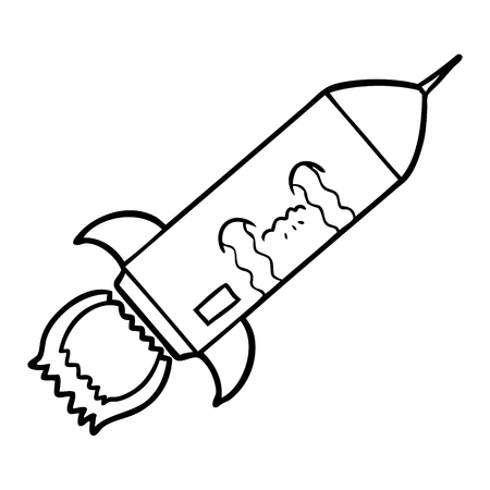 A cartoon of crying rocket on white background. 向量圖像