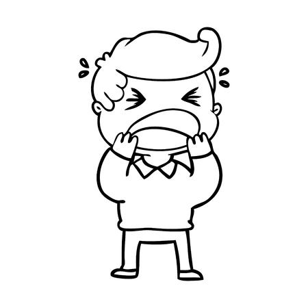 A cartoon of shouting man on white background. Illustration