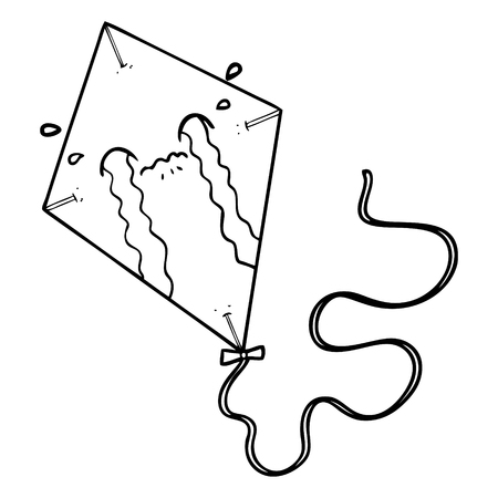 A cartoon of kite crying on white background.