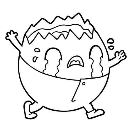 Een humpty dumpty cartoon ei man huilen op witte achtergrond.